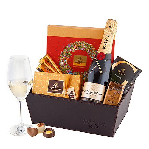 Christmas 2018 : Christmas Leather Hamper Godiva & Champagne